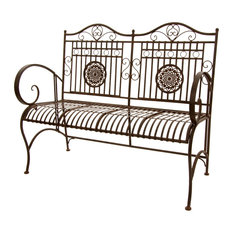 Rustic Metal Garden Bench, Rust Patina