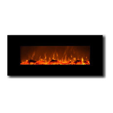 Houston Electric Wall-Mounted Fireplace, Black, 50""