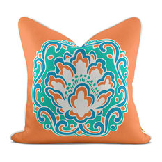 Medallion Blossom Orange Pillow Case