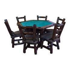Furniture Barn USA   Rustic Stained Red Cedar Log Game Table With 6 Chairs,  7