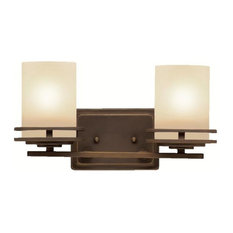 Contemporary Hendrik Wall Mt Bath 2 Arm, Olde Bronze With-Light Umber Glass