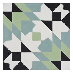 "8""x8"" Reno Handmade Cement Tile, Black/Green/Blue, Set of 12"