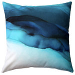 """Pillow Decor Ltd. - Karalina Design Watercolor Throw Pillow 20""""x20"""", Beneath the Waves - Dive in with the Beneath the Waves Throw Pillow. Deep blues collide but beneath the chaos this pillow gives a sense of calm. A perfect pillow for any contemporary space, cottage or beach house. From the Karalina Design throw pillow collection."""