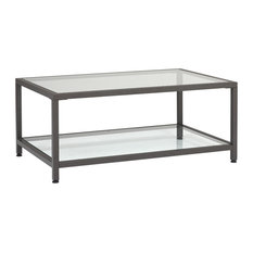 Camber 36-inch Modern Metal And Glass Rectangular Coffee Table In Pewter Clear