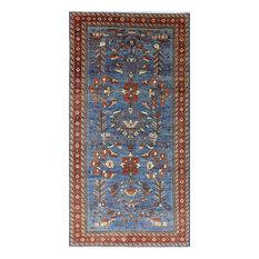 Handmade Fine Serapi Antiqued Persian 6x12 Blue Hand Knotted Wool Area Rug MC161