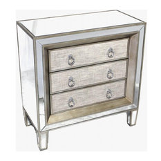Drawer Chest Antiqued Silver Mirror Linen MDF Inlaid 3 -Drawer