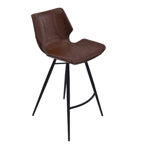 Zurich Metal Stool, Matte Black Metal and Vintage-Style Coffee, Counter Height
