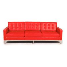 kardiel midcentury modern florence premium aniline leather 3seat sofa red sofas - Top Grain Leather Sofa