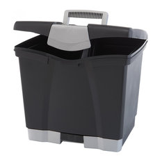 STOREX   Storex Portable File Box With Pull Out Tray, Gray   Filing Cabinets