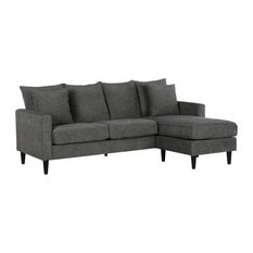 Dorel Living Bolton Reversible Sectional With Pillows Gray