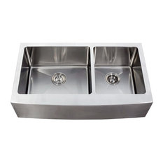 "36"" Stainless Steel Curved Front Farm Apron 60/40 Double Bowl Kitchen Sink"