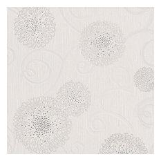 Floral Fireworks Wallpaper, White, Sample