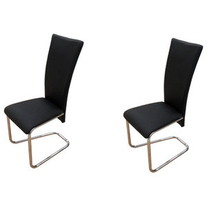 vidaXL Faux Leather Iron Dining Chairs, Black, Set of 2