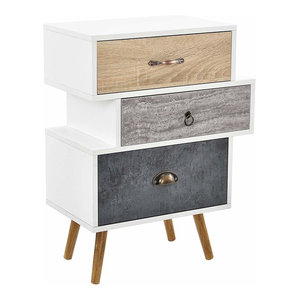 Contemporary Sideboard in White-Oak Finished Wood with Steel Legs and 3 Drawers