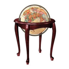 Antique Ocean Globe w Cherry Finished Wood Stand