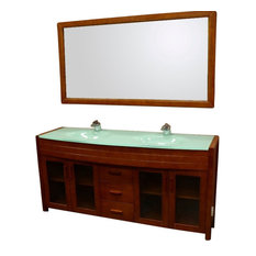 "Design Element DEC016B-2 Waterfall 72"" Double Sink Vanity Set, Honey Oak"