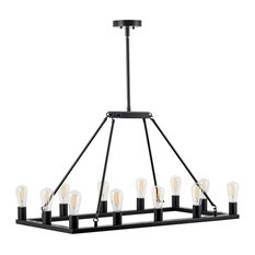 Sonoro Large Industrial Rectangular Chandelier, Black