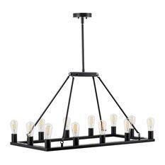 Sonoro Vertical Light Industrial Rectangular Chandelier, Black