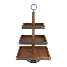 3, Tier Mango Wood and Galvanized Iron Dessert Stand