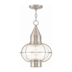 Goodman Designs - 1-Light Brushed Nickel Chain Lantern - Outdoor Hanging Lights