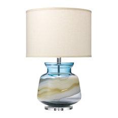 Ursula Table Lamp in Blue Glass, Sea Salt Linen