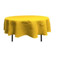 "LA Linen Round Natural Burlap Tablecloth, Yellow, 72"" Round"