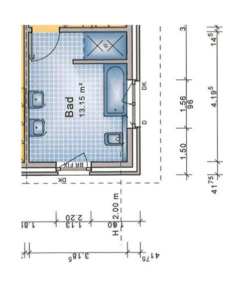 Aufteilung Badezimmer Neubau