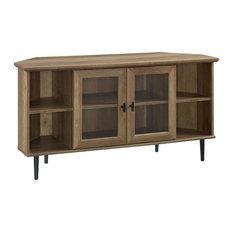 48-inch Simple Glass Door Corner TV Console Reclaimed Barnwood