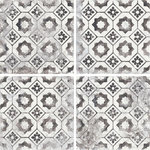 Rocky Point Tile Co - Mariner 900 8x8 Porcelain Pattern Floor Tiles, Nera Decor Maioliche 10, 10 SF - You are purchasing 10 Square Feet of Mariner 900 8x8 Glazed Porcelain Pattern Floor Tiles - Nera Decor Maioliche 10. This Mariner 900 Series is an encaustic-look glazed porcelain tile with a beautiful distressed look. This patterned floor tile will be the show stopper that you have been searching for! Available in a variety of 8 options ranging between  plain and patterned tiles. Consider combining multiple different tiles in this collection to create a look unique to your project. Patterned floor tiles are very popular right now and this collection is a beautiful addition to this trend. Also an excellent choice for wet areas such as bathrooms and entry ways to the home!