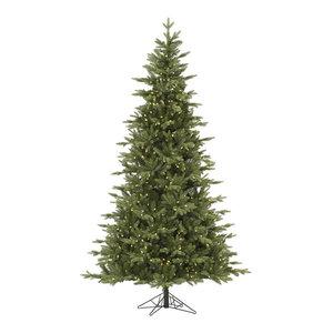 Fresh Balsam Fir Tree With Metal Base, 12', Warm White LED Lights