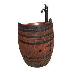 French Oak Wine Barrel Bathoom Vanity With Hammered Copper Sink