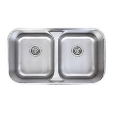 Waterloo 18 Gauge Stainless Steel Undermount 50/50 Low Divide Dual Bowl Sink