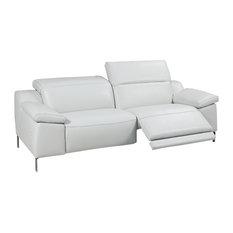 Sofia Electric Motion Sofa, Manual Adjustable Neck Rest Cushions, White