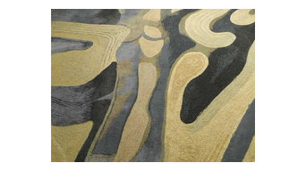 """Grain Acres"" Contemporary Hand Tufted Cut and Loop Pile Rug"