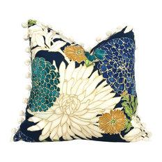 "Asian Floral Pillow Cover With Cream PomPom Trim, 18""x18"""