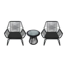 GDFStudio - 3-Piece Aiden Outdoor Wicker Chat Set, Gray and White - Outdoor Lounge Sets