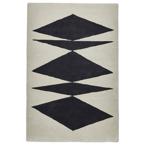 Inaluxe Black and White Rectangular Funky Rug, 150x230 cm