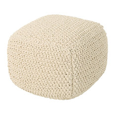 GDF Studio Knox Knitted Cotton Pouf, Beige