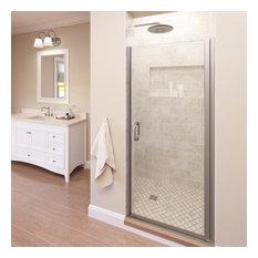 "Basco Shower Enclosures - Infinity Semi-Frameless Swing Shower Door, 33.0625-34"", Clear, Brushed Nickel - Shower Doors"