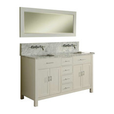 "Hutton Spa Double 63"" Pearl White Vanity, Carrara Marble Top, Without Mirror"