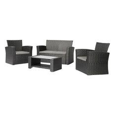 Black Resin Wicker 4-Piece Outdoor Patio Furniture Set