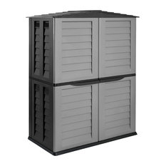 Tall Garden Shed Silver, Black With Extension