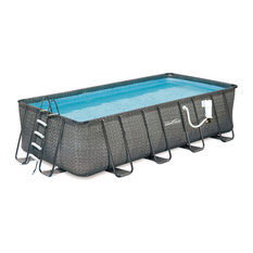 Blue Wave Products, Inc - Dark Wicker 12-fx24-ft Rectangle Metal Frame Pool Package, 52-in Deep - Aboveground Swimming Pools
