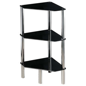 Modern Corner End Table With Black Glass and Chrome Frame, 3 Half Round Shelves