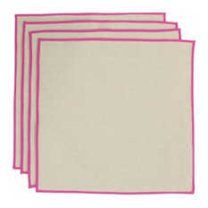 Monogrammed Jute Napkins Pink Trim (Set Of 4), Cardinal Thread, Shelly Font, F