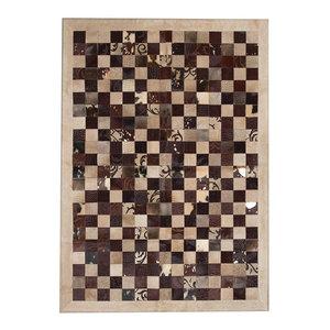 Patchwork Leather Cubed Cowhide Rug, Brown Grabados Beige Border, 200x300 cm
