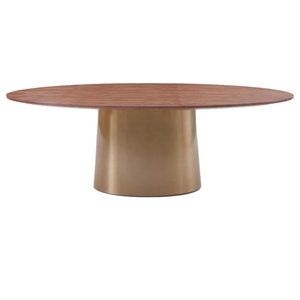 Modrest Emil Modern Walnut and Brass Oval Dining Table