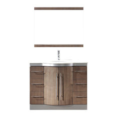 "Dinara 42"" Vanity Set, Smoked Ash and Nougat Quartz"