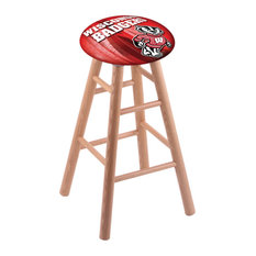 Oak Bar Stool Natural Finish With Wisconsin -inchBadger-inch Seat 30-inch