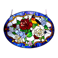 ALYSSA, Tiffany-glass Roses/Bird Window Panel, 24x18